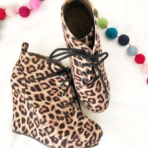{Qupid} Leopard Print Wedge Booties